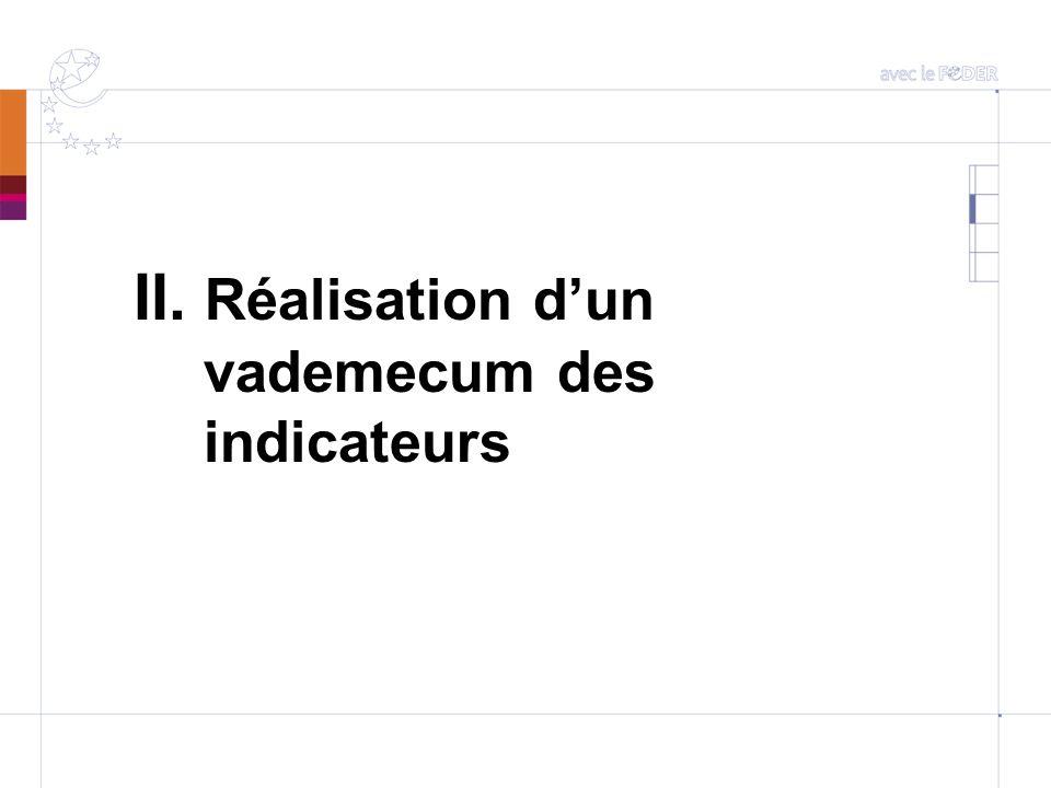 Réalisation dun vademecum des indicateurs PO FEDER 2007-2013 Réunions de travail avec EDATER, notamment sur le choix des indicateurs dalerte Première proposition de vademecum le 26.06.2009 : un guide complet des indicateurs.