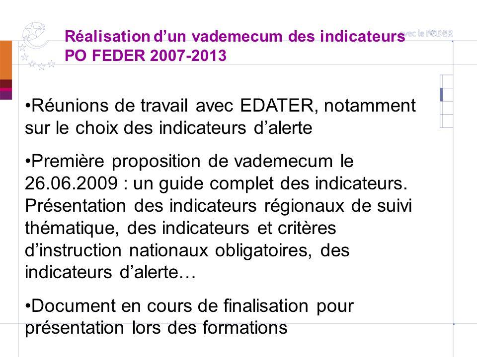Réalisation dun vademecum des indicateurs PO FEDER 2007-2013 Réunions de travail avec EDATER, notamment sur le choix des indicateurs dalerte Première