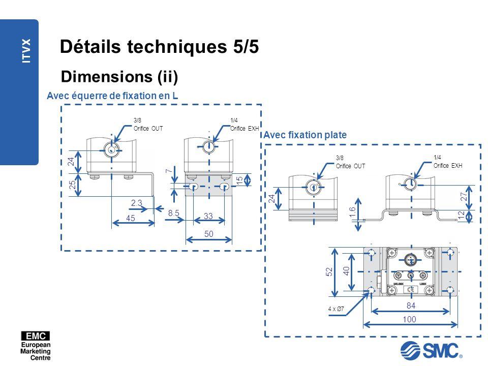 ITVX Détails techniques 5/5 Dimensions (ii) Avec fixation plate Avec équerre de fixation en L 8.5 33 50 1/4 Orifice EXH 3/8 Orifice OUT 45 2.3 24 25 7