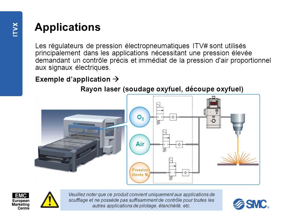ITVX Applications Les régulateurs de pression électropneumatiques ITV# sont utilisés principalement dans les applications nécessitant une pression éle
