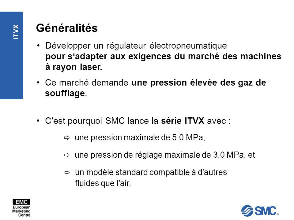 ITVX Applications Les régulateurs de pression électropneumatiques ITV# sont utilisés principalement dans les applications nécessitant une pression élevée demandant un contrôle précis et immédiat de la pression d air proportionnel aux signaux électriques.