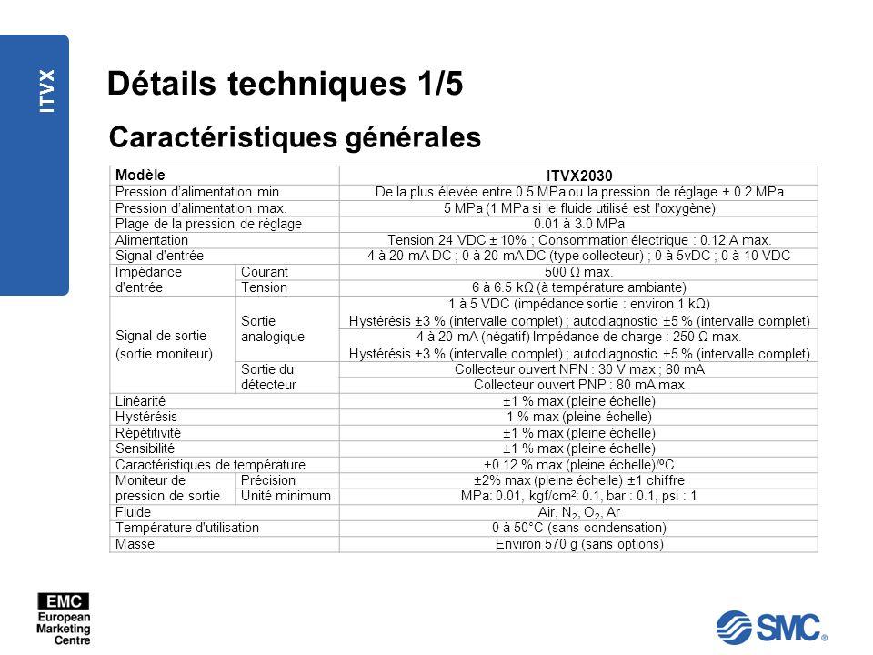 ITVX Détails techniques 1/5 Caractéristiques générales Modèle ITVX2030 Pression dalimentation min.De la plus élevée entre 0.5 MPa ou la pression de ré