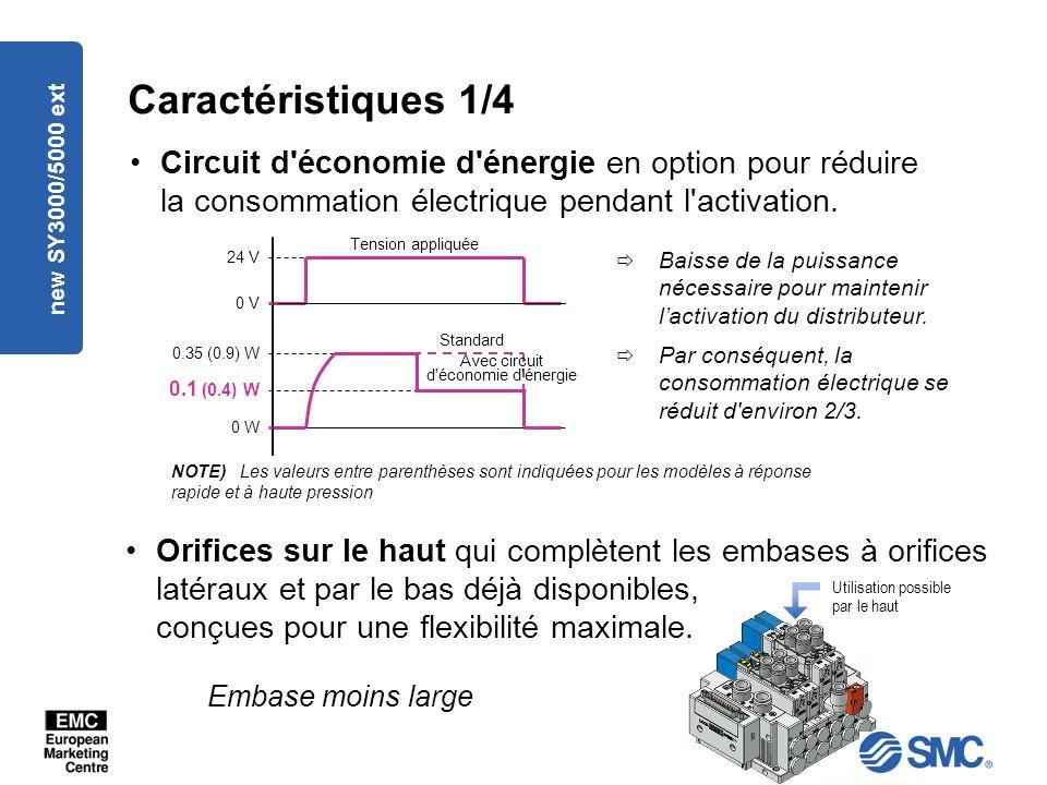 new SY3000/5000 ext Caractéristiques 1/4 Circuit d économie d énergie en option pour réduire la consommation électrique pendant l activation.