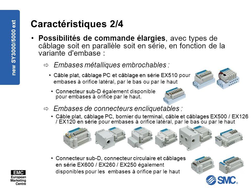 new SY3000/5000 ext Caractéristiques 2/4 Possibilités de commande élargies, avec types de câblage soit en parallèle soit en série, en fonction de la variante d embase : Embases métalliques embrochables : Embases de connecteurs encliquetables : Câble plat, câblage PC et câblage en série EX510Câble plat, câblage PC et câblage en série EX510 pour embases à orifice latéral, par le bas ou par le haut Connecteur sub-D, connecteur circulaire et câblages en série EX600 / EX260 / EX250Connecteur sub-D, connecteur circulaire et câblages en série EX600 / EX260 / EX250 également disponibles pour les embases à orifice par le haut Câble plat, câblage PC, bornier du terminal, câble et câblages EX500 / EX126 / EX120 en sérieCâble plat, câblage PC, bornier du terminal, câble et câblages EX500 / EX126 / EX120 en série pour embases à orifice latéral, par le bas ou par le haut Connecteur sub-DConnecteur sub-D également disponible pour embases à orifice par le haut.