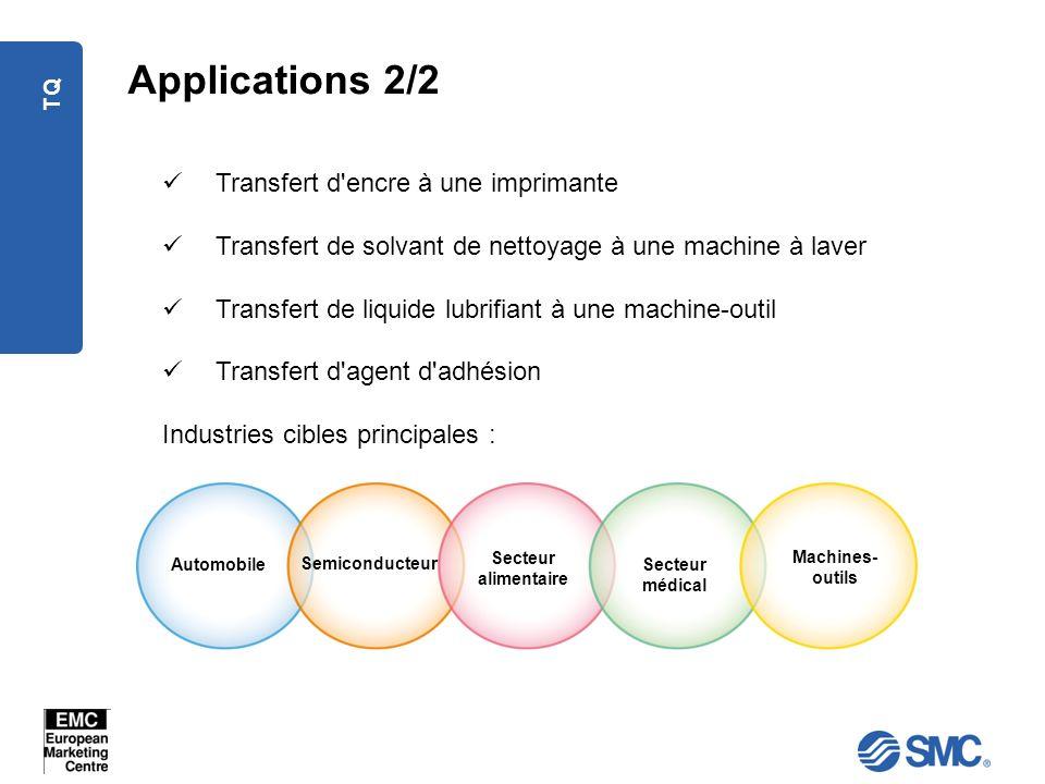 TQ Applications 2/2 Transfert d'encre à une imprimante Transfert de solvant de nettoyage à une machine à laver Transfert de liquide lubrifiant à une m