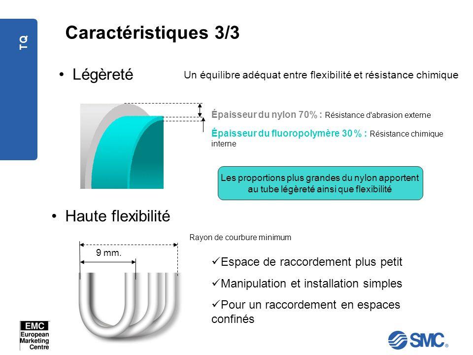 TQ Caractéristiques 3/3 Haute flexibilité Légèreté Un équilibre adéquat entre flexibilité et résistance chimique Épaisseur du fluoropolymère 30 % : Ré