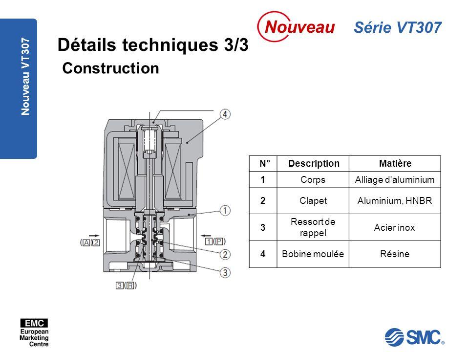 Nouveau VT307 Détails techniques 3/3 N°DescriptionMatière 1CorpsAlliage d aluminium 2ClapetAluminium, HNBR 3 Ressort de rappel Acier inox 4Bobine mouléeRésine Construction Série VT307 Nouveau