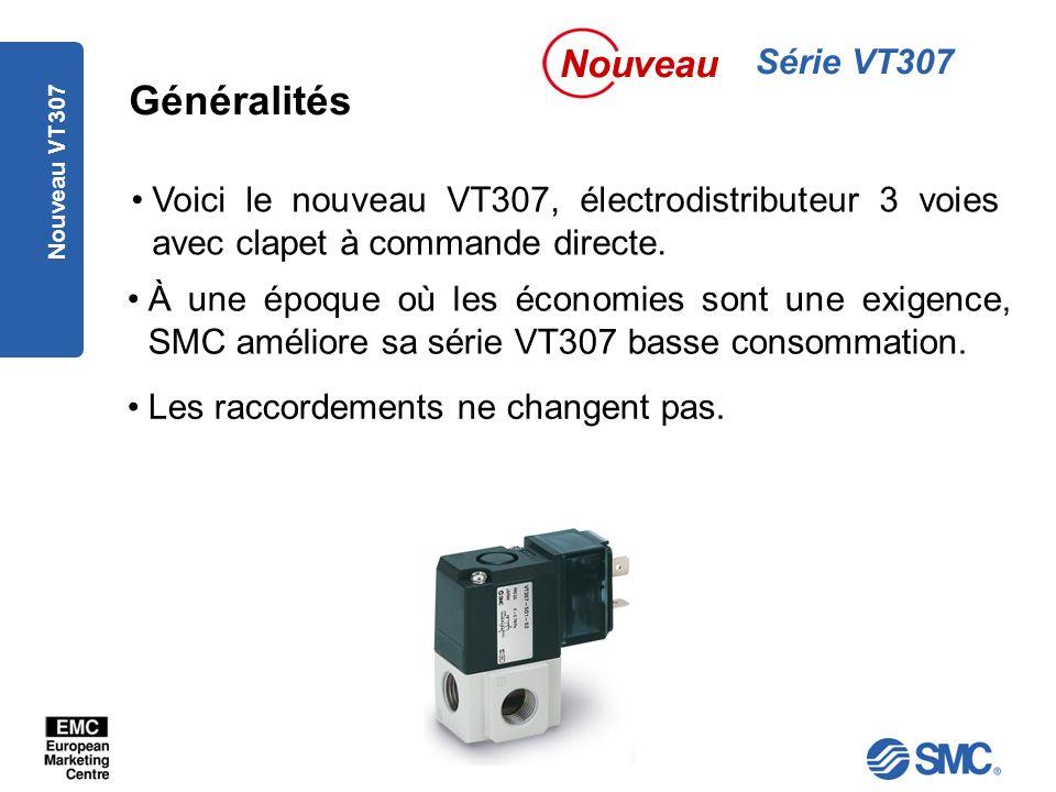 Nouveau VT307 À une époque où les économies sont une exigence, SMC améliore sa série VT307 basse consommation.