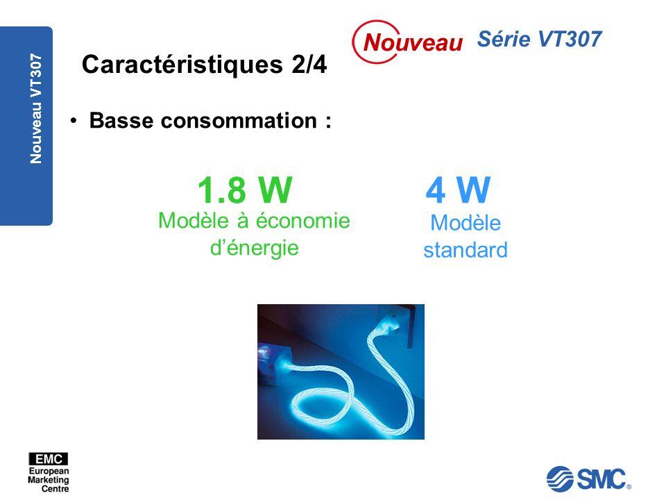 Nouveau VT307 Caractéristiques 2/4 Basse consommation : 1.8 W4 W Modèle à économie dénergie Modèle standard Série VT307 Nouveau