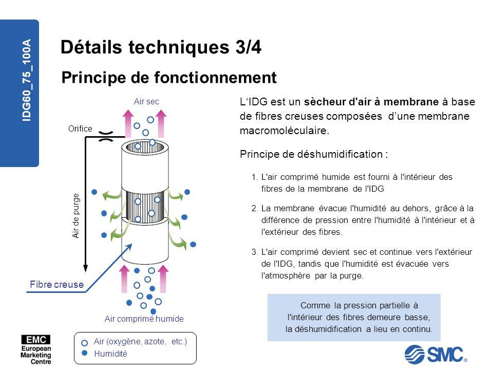 IDG60_75_100A Détails techniques 3/4 Principe de fonctionnement 3. L'air comprimé devient sec et continue vers l'extérieur de l'IDG, tandis que l'humi