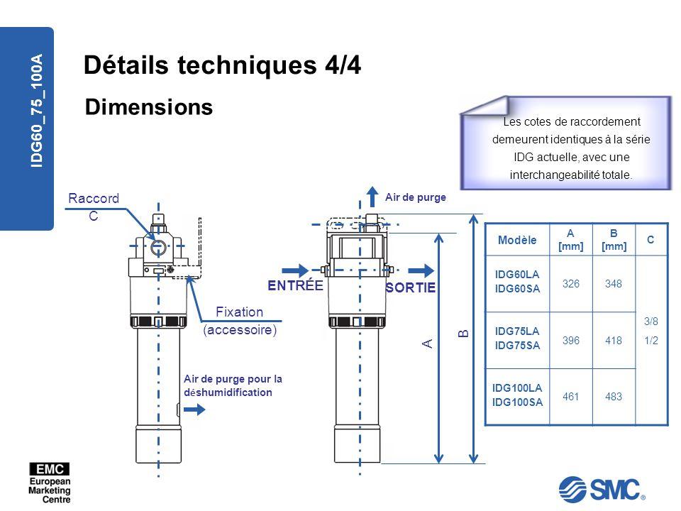 IDG60_75_100A Détails techniques 4/4 Dimensions Raccord C A B ENT RÉE SORTIE Fixation (accessoire) Air de purge Air de purge pour la d é shumidificati