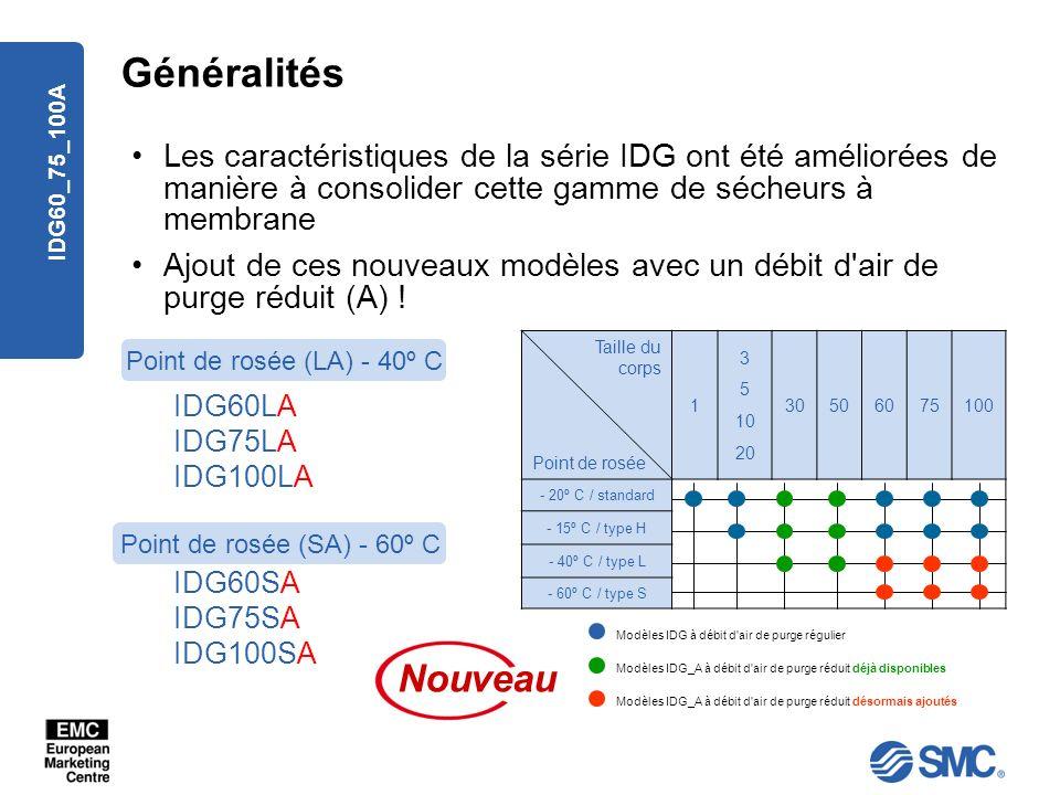 IDG60_75_100A Généralités Les caractéristiques de la série IDG ont été améliorées de manière à consolider cette gamme de sécheurs à membrane Ajout de
