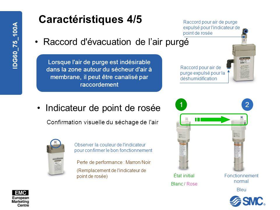 IDG60_75_100A Raccord d'évacuation de lair purgé Caractéristiques 4/5 Raccord pour air de purge expulsé pour la déshumidification Raccord pour air de