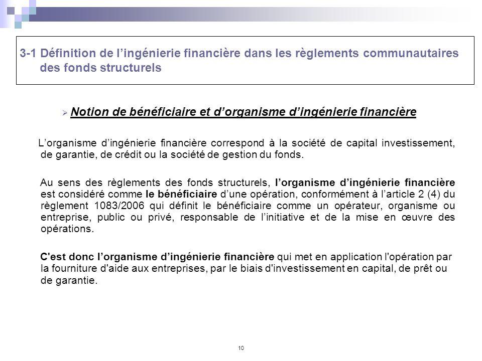 10 Notion de bénéficiaire et dorganisme dingénierie financière Lorganisme dingénierie financière correspond à la société de capital investissement, de