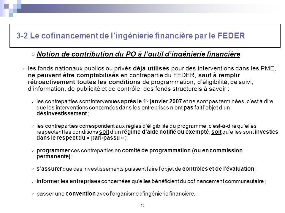 13 Notion de contribution du PO à loutil dingénierie financière les fonds nationaux publics ou privés déjà utilisés pour des interventions dans les PM