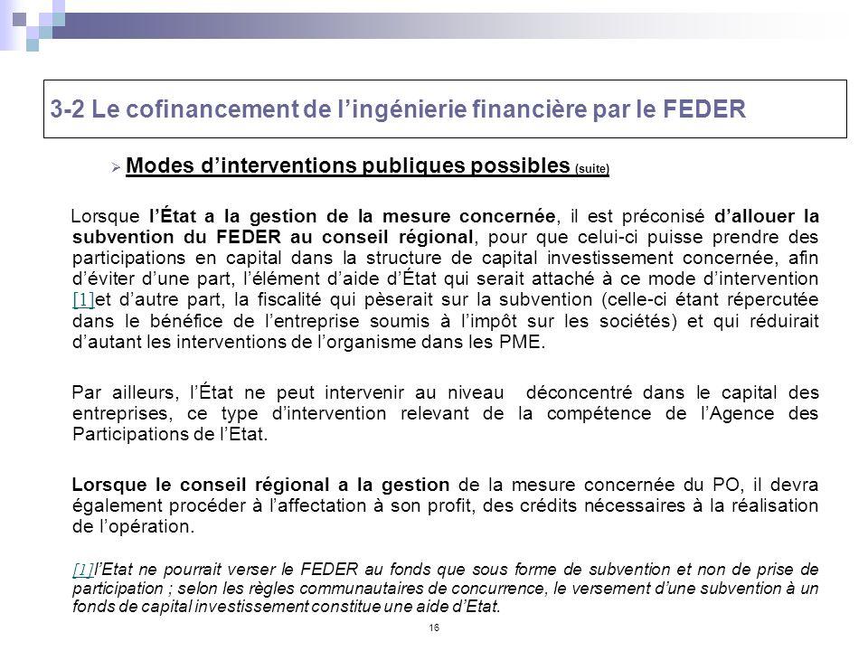 16 3-2 Le cofinancement de lingénierie financière par le FEDER Modes dinterventions publiques possibles (suite) Lorsque lÉtat a la gestion de la mesur