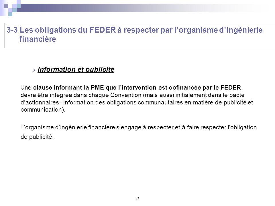 17 Information et publicité Une clause informant la PME que lintervention est cofinancée par le FEDER devra être intégrée dans chaque Convention (mais