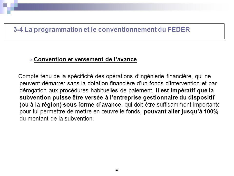 23 3-4 La programmation et le conventionnement du FEDER Convention et versement de lavance Compte tenu de la spécificité des opérations dingénierie fi