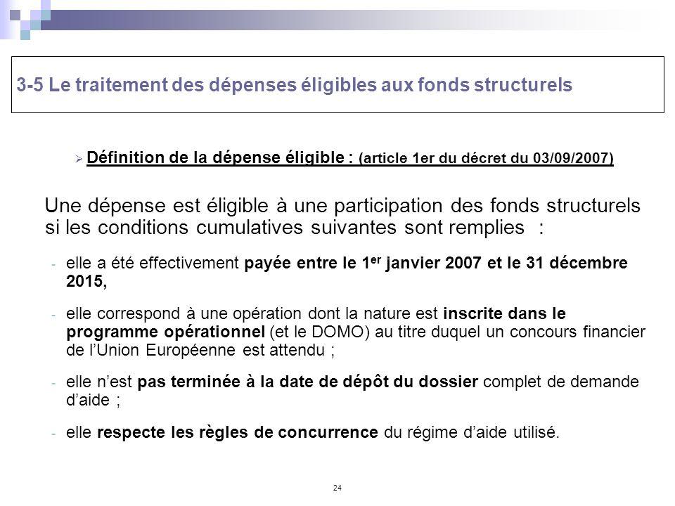 24 3-5 Le traitement des dépenses éligibles aux fonds structurels Définition de la dépense éligible : (article 1er du décret du 03/09/2007) Une dépens