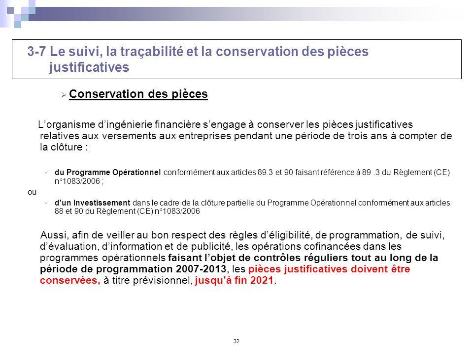 32 3-7 Le suivi, la traçabilité et la conservation des pièces justificatives Conservation des pièces Lorganisme dingénierie financière sengage à conse