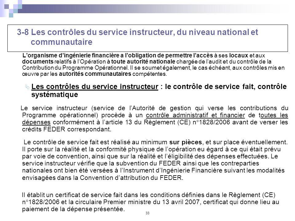 33 3-8 Les contrôles du service instructeur, du niveau national et communautaire Lorganisme dingénierie financière a lobligation de permettre laccès à