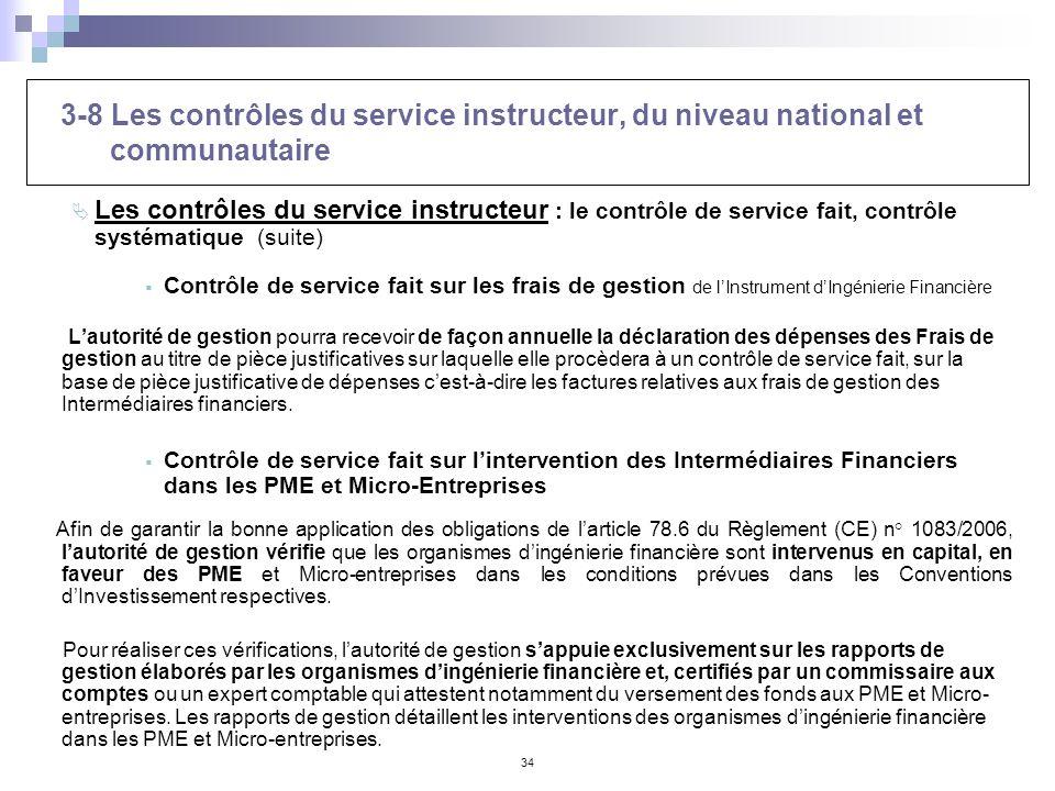 34 3-8 Les contrôles du service instructeur, du niveau national et communautaire Les contrôles du service instructeur : le contrôle de service fait, c