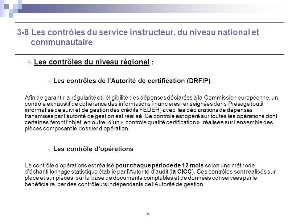 35 3-8 Les contrôles du service instructeur, du niveau national et communautaire Les contrôles du niveau régional : Les contrôles de lAutorité de cert