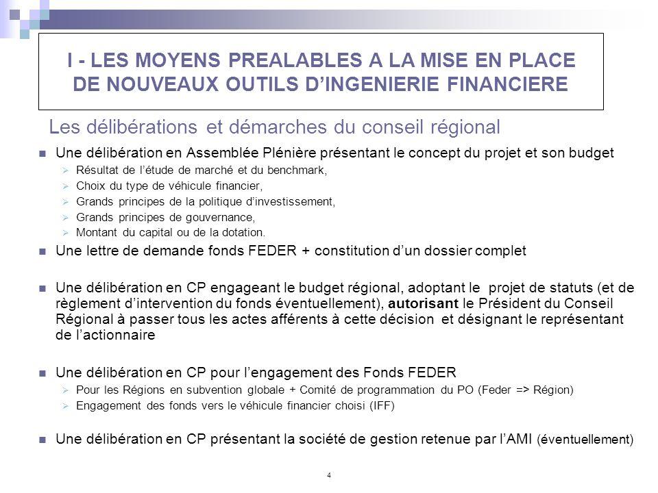4 Les délibérations et démarches du conseil régional Une délibération en Assemblée Plénière présentant le concept du projet et son budget Résultat de