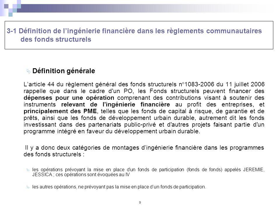 9 3-1 Définition de lingénierie financière dans les règlements communautaires des fonds structurels Définition générale Larticle 44 du règlement génér