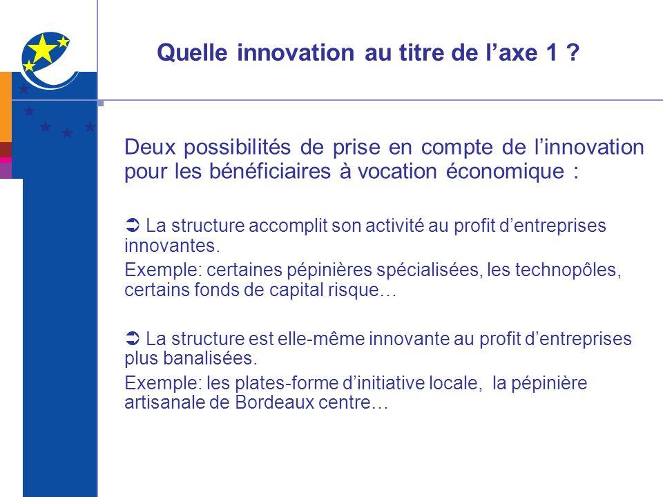Quelle innovation au titre de laxe 1 ? Deux possibilités de prise en compte de linnovation pour les bénéficiaires à vocation économique : La structure