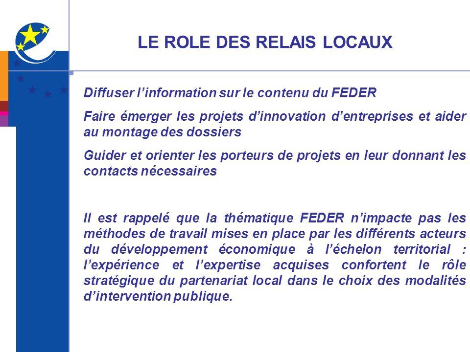LE ROLE DES RELAIS LOCAUX Diffuser linformation sur le contenu du FEDER Faire émerger les projets dinnovation dentreprises et aider au montage des dos