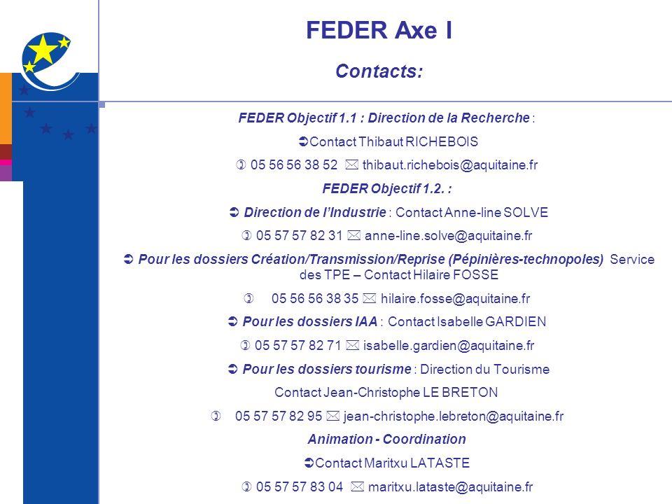 FEDER Axe I Contacts: FEDER Objectif 1.1 : Direction de la Recherche : Contact Thibaut RICHEBOIS 05 56 56 38 52 thibaut.richebois@aquitaine.fr FEDER O