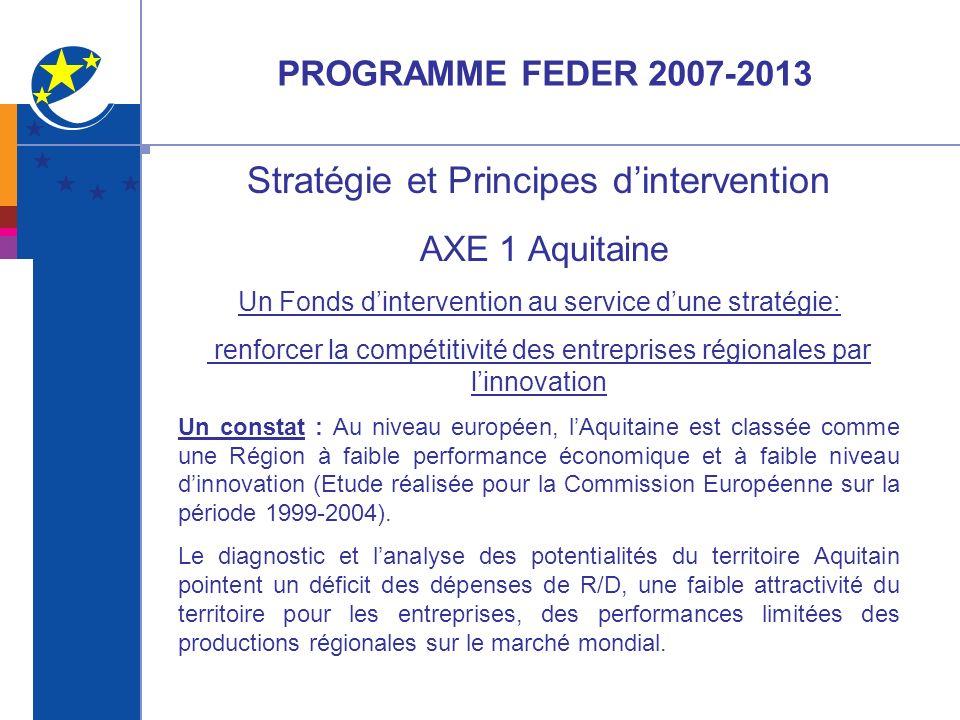 FEDER 2007-2013 Axe 1 Stratégie et Principes dintervention Une réponse : Le fléchage du FEDER sur un nombre restreint de priorités thématiques déclinées dans le Programme Opérationnel (PO) Aquitain.