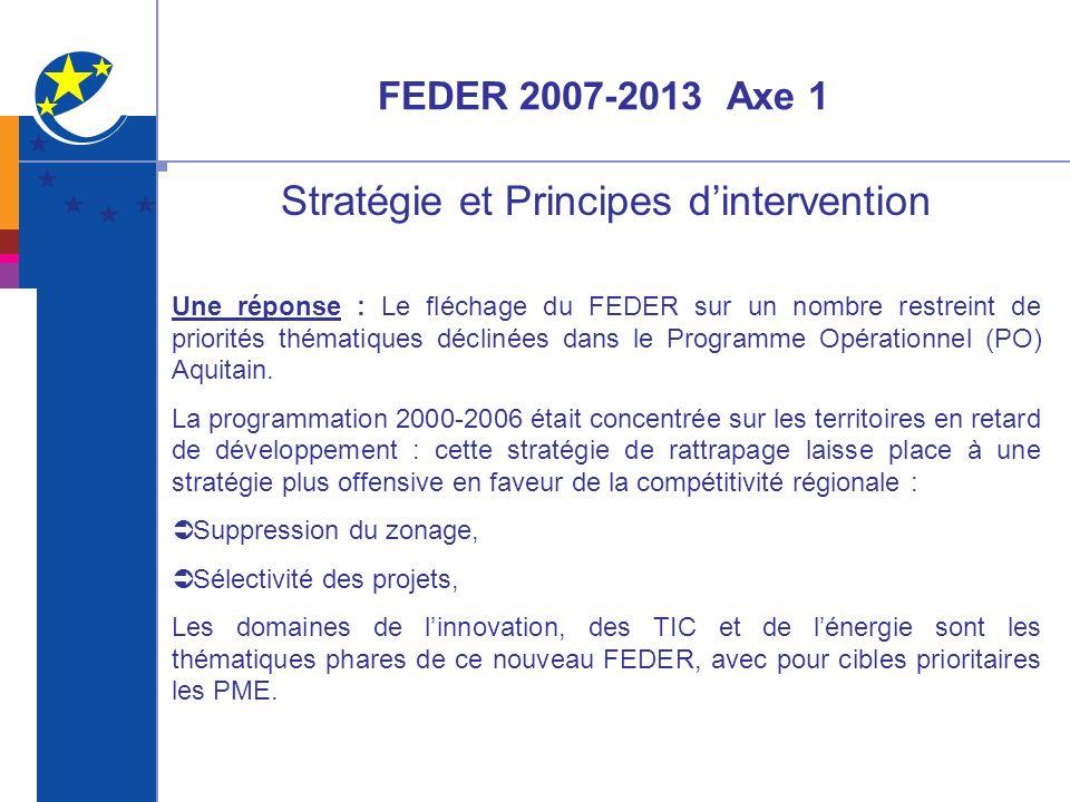 FEDER 2007-2013 Axe 1 Stratégie et Principes dintervention Une réponse : Le fléchage du FEDER sur un nombre restreint de priorités thématiques décliné