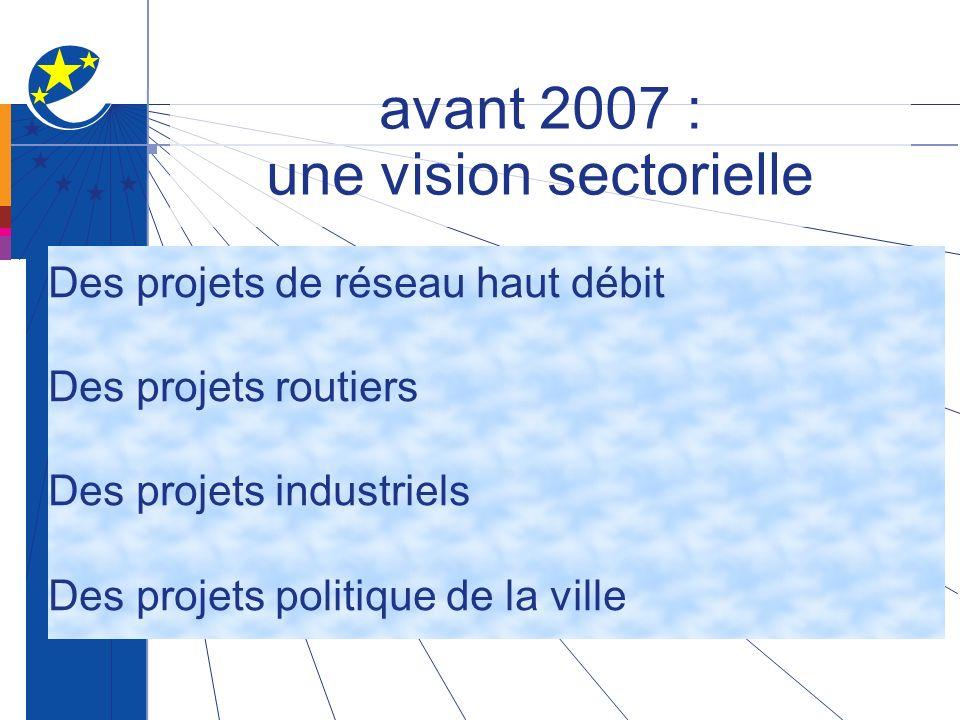 avant 2007 : une vision sectorielle Des projets de réseau haut débit Des projets routiers Des projets industriels Des projets politique de la ville