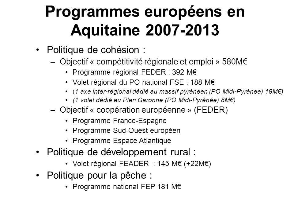 Programmes européens en Aquitaine 2007-2013 Politique de cohésion : –Objectif « compétitivité régionale et emploi » 580M Programme régional FEDER : 39