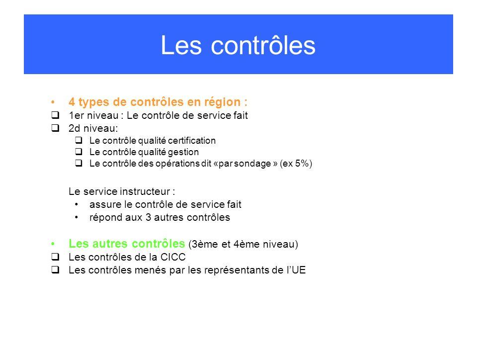 4 types de contrôles en région : 1er niveau : Le contrôle de service fait 2d niveau: Le contrôle qualité certification Le contrôle qualité gestion Le