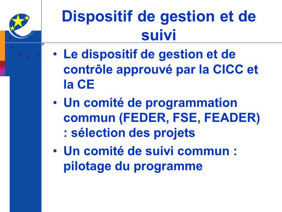 Dispositif de gestion et de suivi Le dispositif de gestion et de contrôle approuvé par la CICC et la CE Un comité de programmation commun (FEDER, FSE,