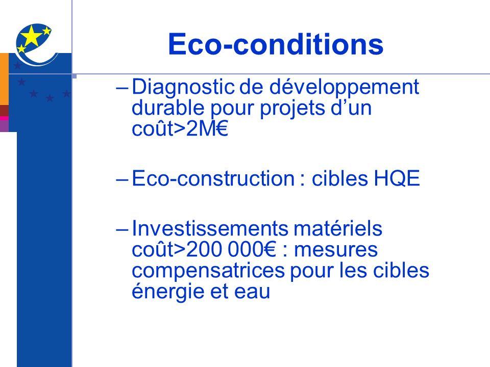 –Diagnostic de développement durable pour projets dun coût>2M –Eco-construction : cibles HQE –Investissements matériels coût>200 000 : mesures compens