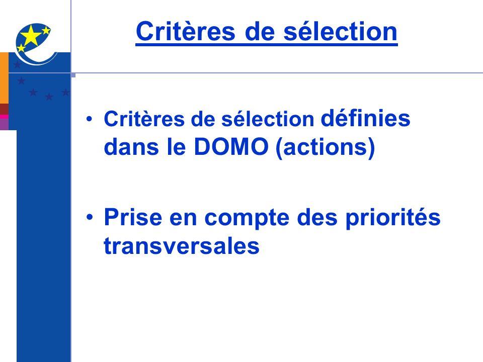 Critères de sélection Critères de sélection définies dans le DOMO (actions) Prise en compte des priorités transversales