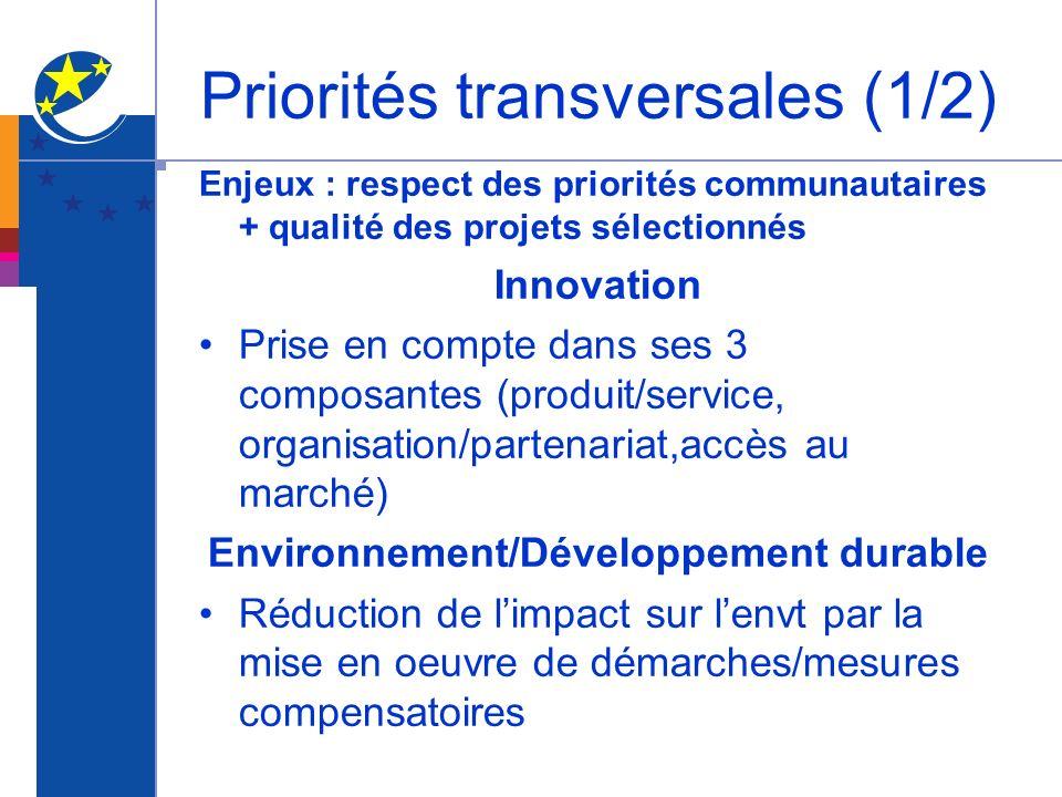 Priorités transversales (1/2) Enjeux : respect des priorités communautaires + qualité des projets sélectionnés Innovation Prise en compte dans ses 3 c