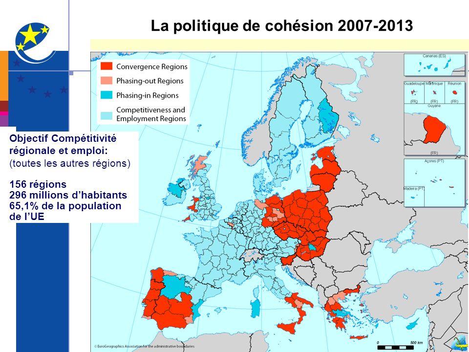 Objectif Compétitivité régionale et emploi: (toutes les autres régions) 156 régions 296 millions dhabitants 65,1% de la population de lUE La politique