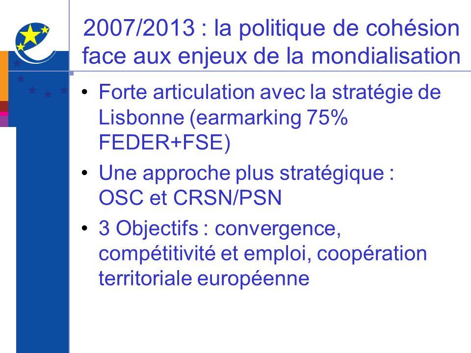 2007/2013 : la politique de cohésion face aux enjeux de la mondialisation Forte articulation avec la stratégie de Lisbonne (earmarking 75% FEDER+FSE)