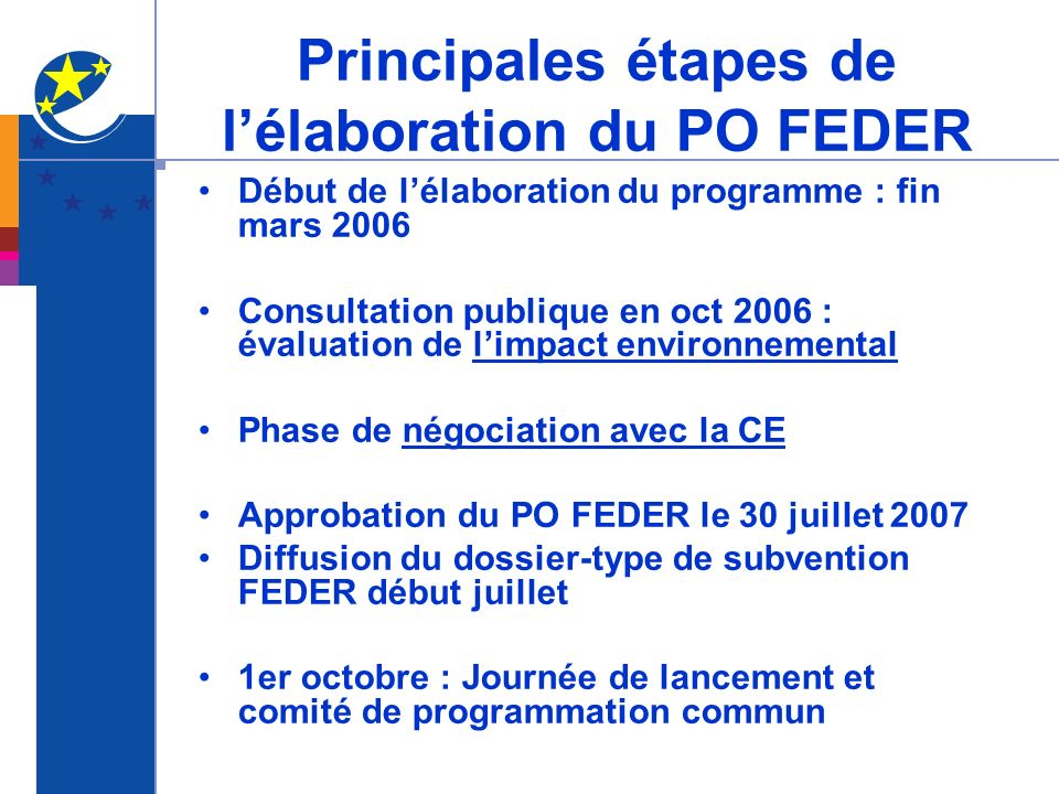Principales étapes de lélaboration du PO FEDER Début de lélaboration du programme : fin mars 2006 Consultation publique en oct 2006 : évaluation de li