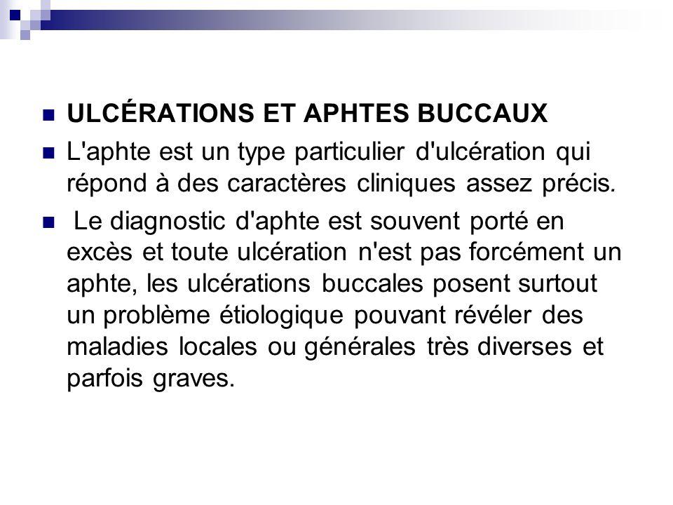 ULCÉRATIONS ET APHTES BUCCAUX L'aphte est un type particulier d'ulcération qui répond à des caractères cliniques assez précis. Le diagnostic d'aphte e