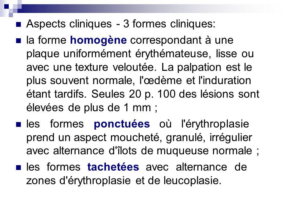 Aspects cliniques - 3 formes cliniques: la forme homogène correspondant à une plaque uniformément érythémateuse, lisse ou avec une texture veloutée. L