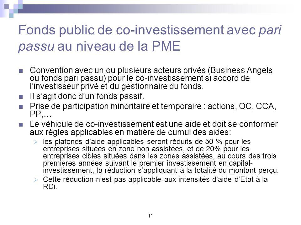 11 Fonds public de co-investissement avec pari passu au niveau de la PME Convention avec un ou plusieurs acteurs privés (Business Angels ou fonds pari