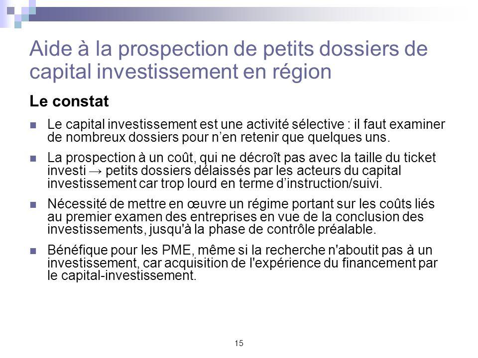 15 Aide à la prospection de petits dossiers de capital investissement en région Le constat Le capital investissement est une activité sélective : il f