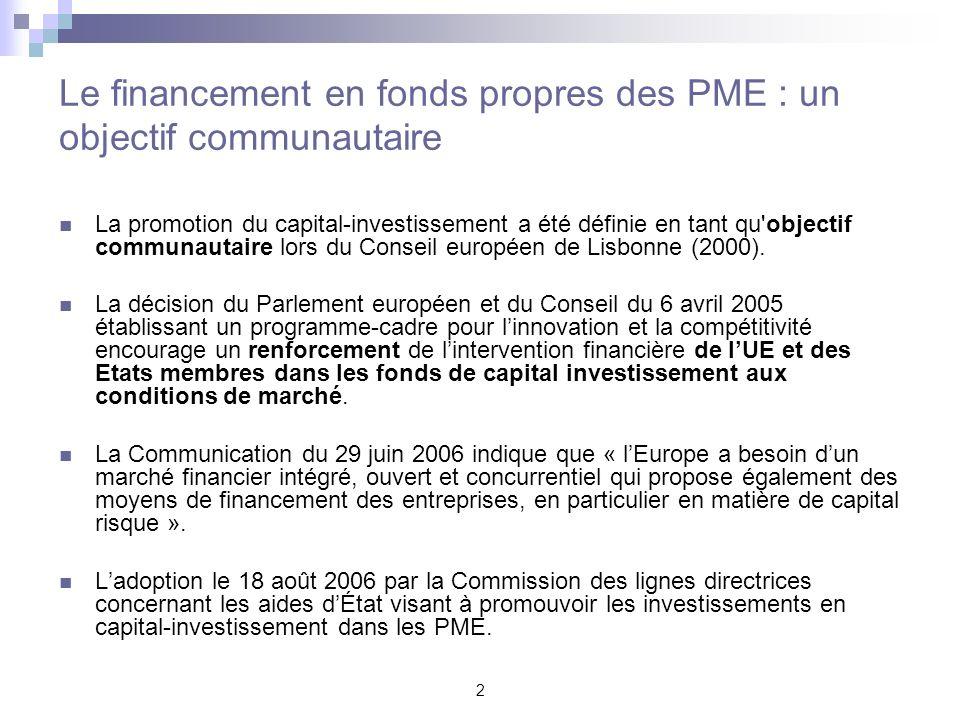 2 Le financement en fonds propres des PME : un objectif communautaire La promotion du capital-investissement a été définie en tant qu'objectif communa