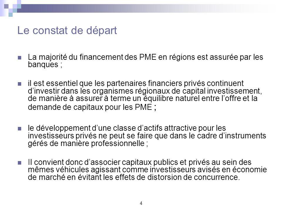 4 Le constat de départ La majorité du financement des PME en régions est assurée par les banques ; il est essentiel que les partenaires financiers pri